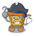 pirate wooden trolley character cartoon vector image