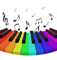 rainbow colored piano keys with musical notes v vector image