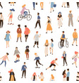 seamless pattern with people walking on street vector image