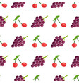 seamless pattern with red berries and purple grape vector image vector image