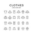 set line icons of clothes vector image vector image