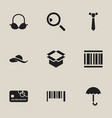 set of 9 editable shopping icons includes symbols vector image vector image