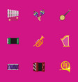 set of 9 editable song flat icons includes vector image vector image