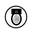 simple toilet bowl flush sign in a black circle vector image vector image