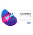 social media engagement isometric 3d landing page vector image vector image