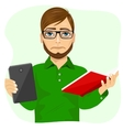 student boy choosing between tablet and books vector image vector image