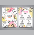 summer hand drawn brochure beach doodle elements vector image