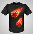 t shirts Black Fire Print man 18 vector image vector image