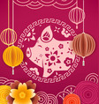 the year of the pig banner chinese style elements vector image vector image