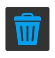 Trash Can flat blue and gray colors rounded button vector image vector image