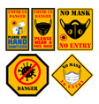 use hand sanitizer wear face mask emblem with vector image