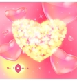 Valentine s day card with bokeh lights vector image vector image