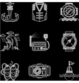 White line icons for marine equipment vector image vector image