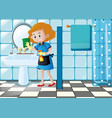 woman cleaning sink in the toilet vector image