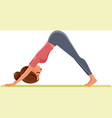Yoga girl in down dog pose exercising on mat
