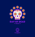 cartoon mexican cute skull with flowers vector image