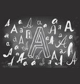 letters a on blackboard vector image