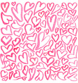 Watercolor square pattern of hearts vector image