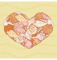 seashells shape of heart vector image