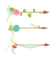 vintage arrow set with floral element and feather vector image