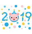 2019 new year banner with cartoon pig face symbol vector image vector image