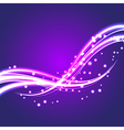 Bokeh light glitter wave lines with flying vector image