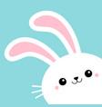 bunny rabbit face head in corner happy easter vector image vector image