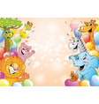 cartoon cheerful animals holiday background vector image vector image