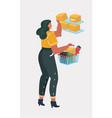 cartoon young woman shopping vector image vector image