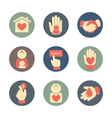 Charity and donation icons flat style set vector image