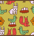 childrens drawing forest animals seamless pattern vector image vector image