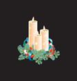 christmas decorative composition three candles vector image vector image