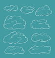 clouds set hand drawn doodle white lines sketch vector image