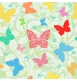 colored butterflies seamless floral background vector image vector image