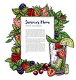 colorful realistic frame berries vector image vector image