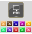 Computer monitor and keyboard Icon Set colourful vector image vector image