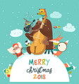 cute merry christmas card with animals santa vector image
