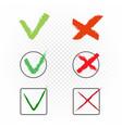 drawn check marks yes no sign vector image