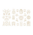 esoteric and religious linear symbols set vector image