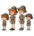 family members in safari outfit vector image vector image