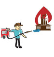 firefighter extinguishes fire vector image vector image