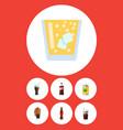 flat icon drink set of beverage lemonade bottle vector image vector image