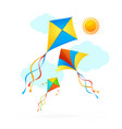 flying kite and clouds on a sky summer concept vector image