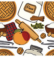 fresh bakery apple pie vanilla seamless pattern vector image