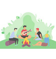friends gathered to go camping characters fire vector image vector image