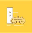 game gamepad joystick play playstation flat line vector image