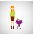 girl cartoon and grape cute fruit icon vector image
