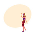 girl woman in 80s style aerobics outfit leopard vector image vector image