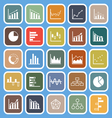 Graph flat icons on blue background vector image vector image