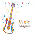 Guitar music background with notes vector image vector image